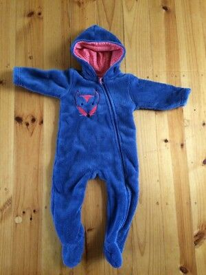 All in one blue hooded winter suit with fox face on Size 0
