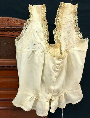 7e1dd925a4d8cf Antique Victorian-Edwardian EMBROIDERED CAMISOLE Lace Ribbon French corset  cover