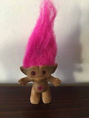 Vintage Retro Pink Haired & Jewel 8cm Ace Novelty Troll Doll 'Made in China'