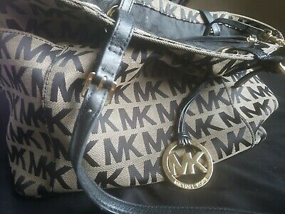 1fd064341f Michael Kors purse Tote Bag Brown Gold Canvas