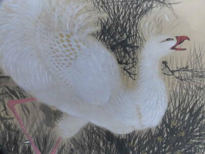 HANGING SCROLL JAPANESE PAINTING JAPAN Phoenix VINTAGE ANTIQUE PICTURE AGED 017n