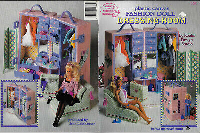 Fashion Doll Dressing Room PLASTIC CANVAS Needlepoint chart book furniture