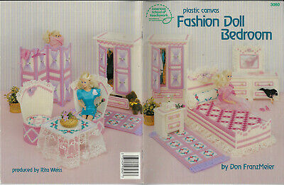 Fashion Doll Bedroom PLASTIC CANVAS Needlepoint chart book furniture