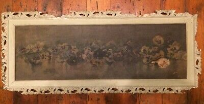 19th. C American Oil Canvas Floral Still Life Painting 12x36 Unsigned?