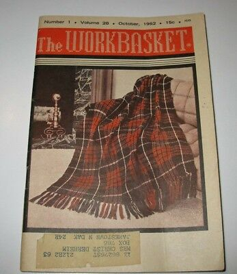 Vintage Workbasket Magazine Home Needlecraft Projects Oct1962 Crafts Very Good