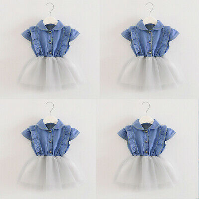 Toddler Infant Baby Girls Denim Sweet Tulle Princess Dresses Sundress Outfits