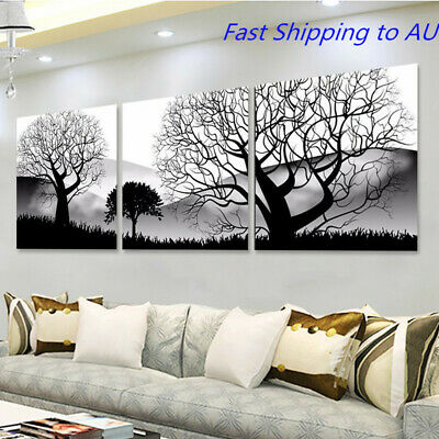 3Pcs Modern Black White Trees Landscape Oil Painting Canvas Art Printed Pictures