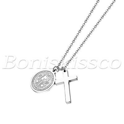 Men's Women's Silver Tone Stainless Steel Round Cross Pendant Chain Necklace