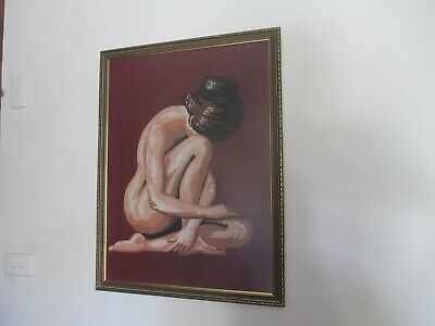 Lovely Vintage Hand Worked Framed Tapestry Portrait Of A Naked Lady Under Glass