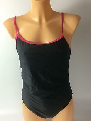 Womens Mamas & Papas Black & Pink Swimming Costume Uk 12 Swimsuit