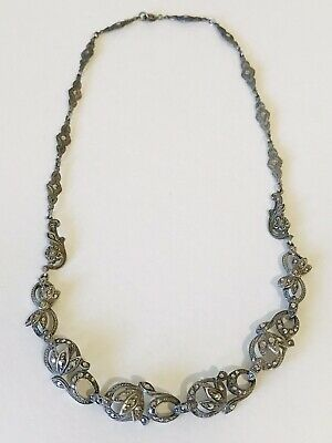 Antique Art Deco Sterling Silver And Marcasite Handset Collar Necklace