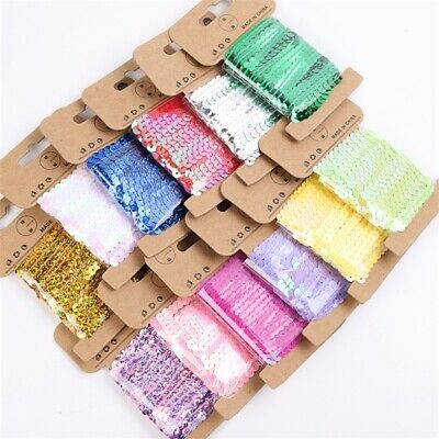 5 Yards Sequins Lace Ribbons Trimming Fabric Crafts Wedding Decor DIY Sewing
