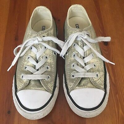 GIRLS Golden Sparkly CONVERSE ALL STAR SHOES INFANTS SIZE UK 11 GC
