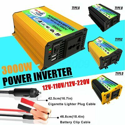 3000W 5000W Car Solar Power Inverter DC 12V to AC 110V 220V Sine Wave Converter