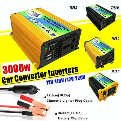 3000W Car Pure Sine Wave Converter Solar Power Charger Inverters DC12 To AC 220V
