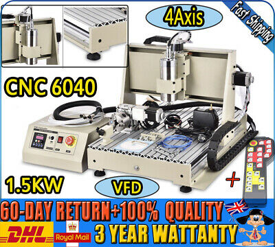 USB 6040 CNC Router 4 Axis Engraving Machine Mill&Drill 1500W VFD + Controller
