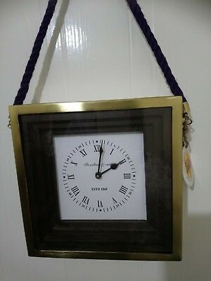 Square Wall Clock Metal Gold Frame Wooden Glass