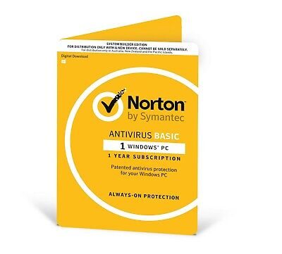 New  Symantec Antivirus 2018 , 1 User, 1 Device, 12 Months, Pc Only, Oem