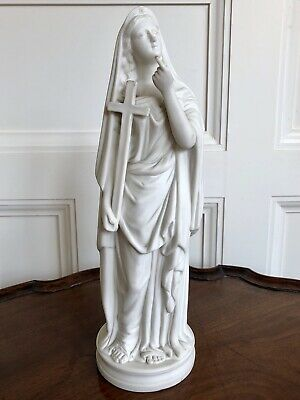A Victorian Parian Religious Figure Of Madonna Holding A Cross, 33cm High.