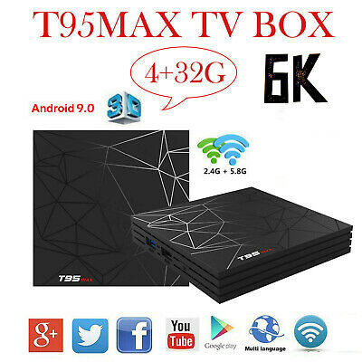 T95MAX Smart TV BOX 4G+32/64GB S905W Quad Core Android 9.0 2.4GHz WiFi 6K Player