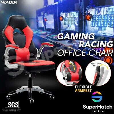 Executive Office Chair Ergonomic Computer PU Leather Gaming Racer Recliner Seat