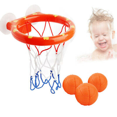 Kids Bath Toy with 3 Orange Mini Basketball Water Play with Hoop Balls Gift Set