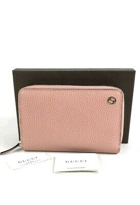 f46ededc3ed6 Authentic GUCCI Dollar Calf GG Logo Soft Pink Leather Zip Around Wallet