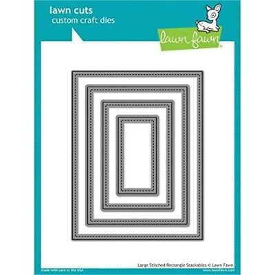 Lawn Fawn Cuts Large Stitched Rectangles Stackables Universal Custom Craft -