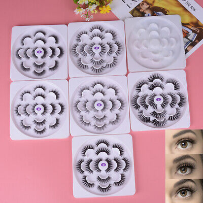 7 Pairs 6D Mink Hair False Eyelashes 25mm Lashes Thick Wispy 'Fluffy Lotus plate