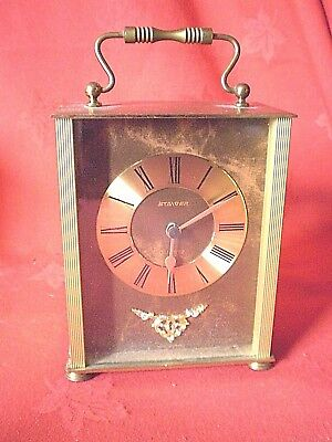 Vintage Staiger Quartz Carriage Clock Gold Coloured Working Order West Germany