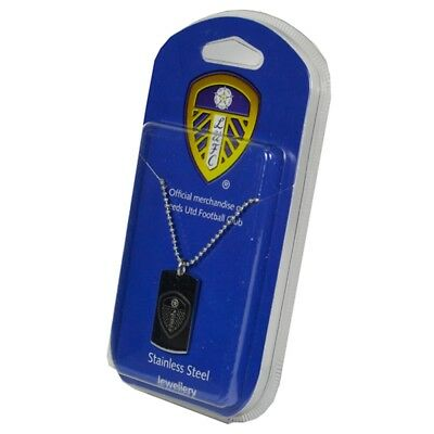 Leeds United F.c. Engraved Crest Dog Tag And Chain - Fc Football Gift Official