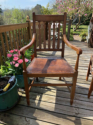 Four Arts and Crafts Style Oak Chairs with one carver , repair project on one