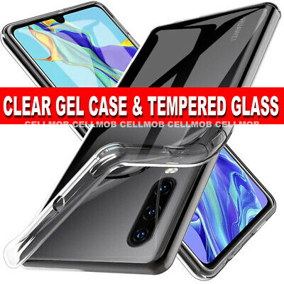 Case for Huawei P30 Ultra Slim Shockproof CLEAR Cover & Glass Screen Protector