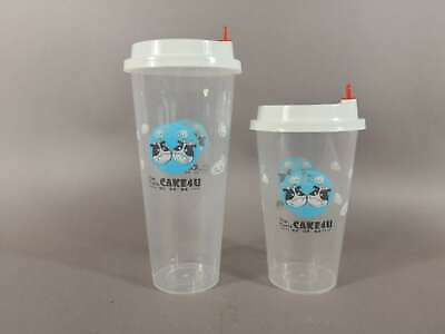 1000 Smoothie Milkshake Disposable Plastic Cups With Lids 700ml