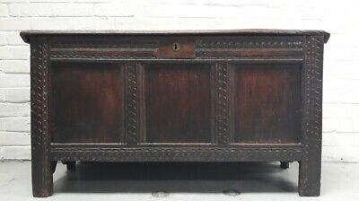 17th Century Charles II Oak Coffer Chest Or Blanket Box Possibly From The West C