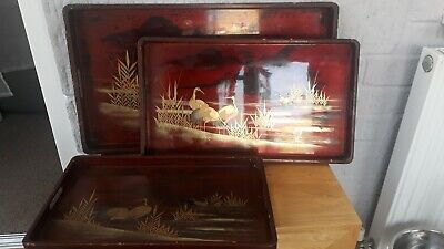 Set Of Three Matching Wooden, Chinese/japanese  Lacquer Trays Crane Design.
