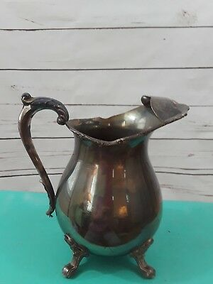 "VTG Silverplate 8.5""H Water Pitcher W/Feet &/Ice Guard EPCA BRISTOL By POOLE 138"