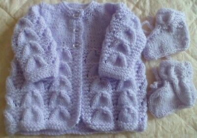 Beautiful Lilac Hand Knitted Baby Cardigan Newborn With Matching  Bootees