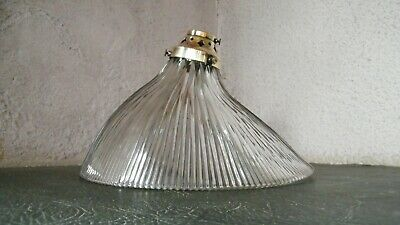 ANTIQUE VINTAGE GENUINE HOLOPHANE PRISMATIC GLASS SHADE and BRASS GALLERY