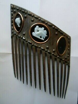 Ancient Steel , White Agate & Tortoise Hair Comb xix* Century