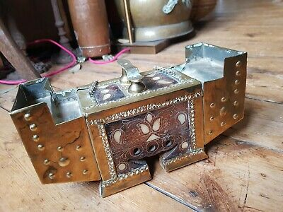 Rare Old Vintage Arts And Crafts Turkish Hammered Brass Inlaid Shoe Shine Box
