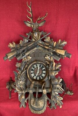 HUGE Antique Black Forest Hunter Style 2 Door Musical Cuckoo Clock German Projec