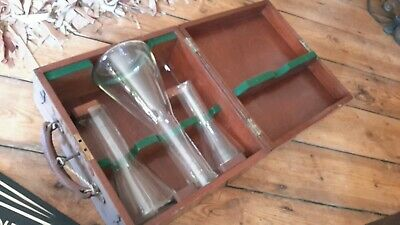 Antique vintage scientific graduated Glass Milk Measures in box with key