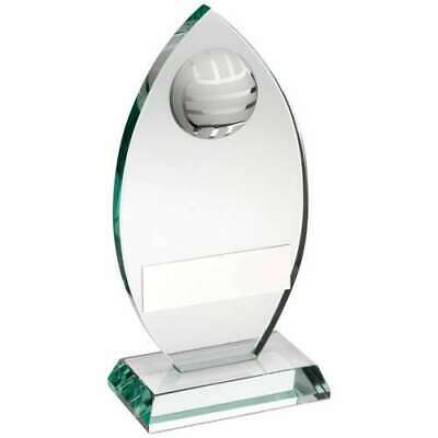 Jade Glass Plaque With Half Netball Trophy 3 sizes free engraving & p&p