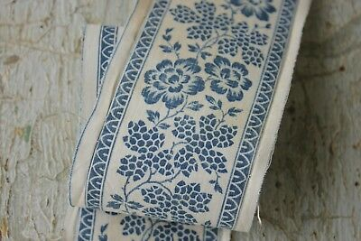 Fabric Antique Blue floral block printed border or ribbon 1820 cotton & linen x2