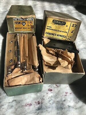 """Stanley Sweetheart MIB 2 1/2""""Hinges (All With Stanley Heart Logo) Nickel, Brass"""