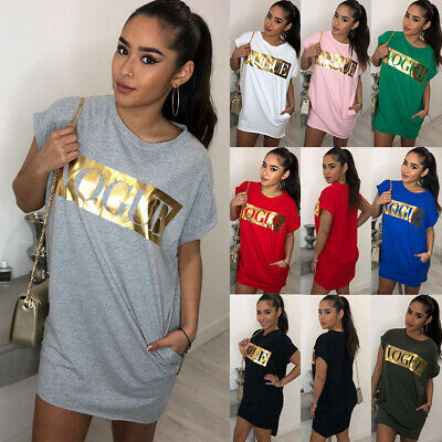 UK Women Short Sleeve VOGUE Print T Shirt Tops Ladies Summer Beach Mini Sundress