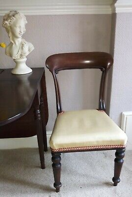 Victorian wooden Backed Chair Upholstered In Gold Silken material