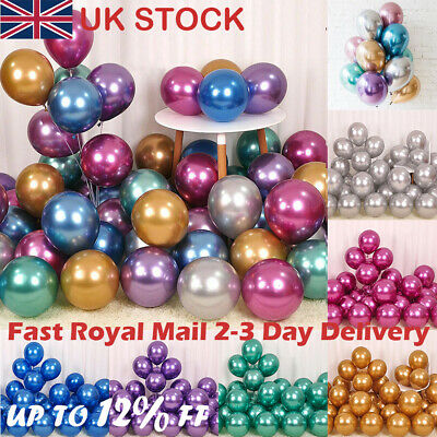 "20 50 100X Latex Chrome BALOON 12"" BALLONS Helium BALLOON Party Birthday Wedding"
