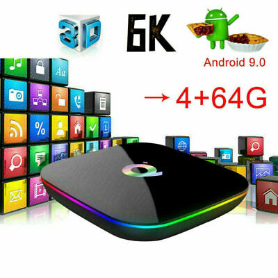 New 6K Q plus 4+64GB Android 9.0 Pie Quad Core Smart TV Box WIFI 3D H.265 Media